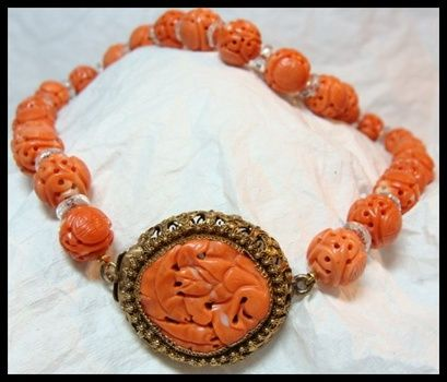 Antique Chinese Coral Necklace | Collectors Weekly | Orange coral .