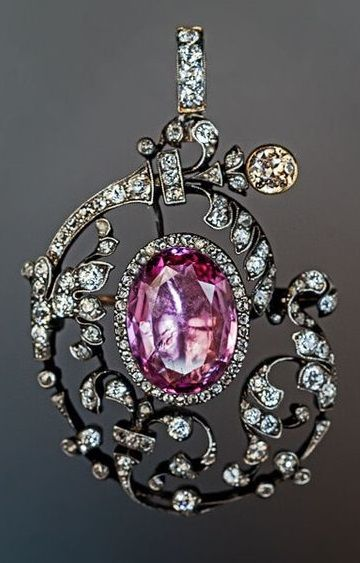 Antique 19th Century Tourmaline Diamond Pendant Brooch | Antique .
