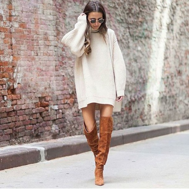 dress, tumblr, sweater dress, oversized turtleneck sweater, over .