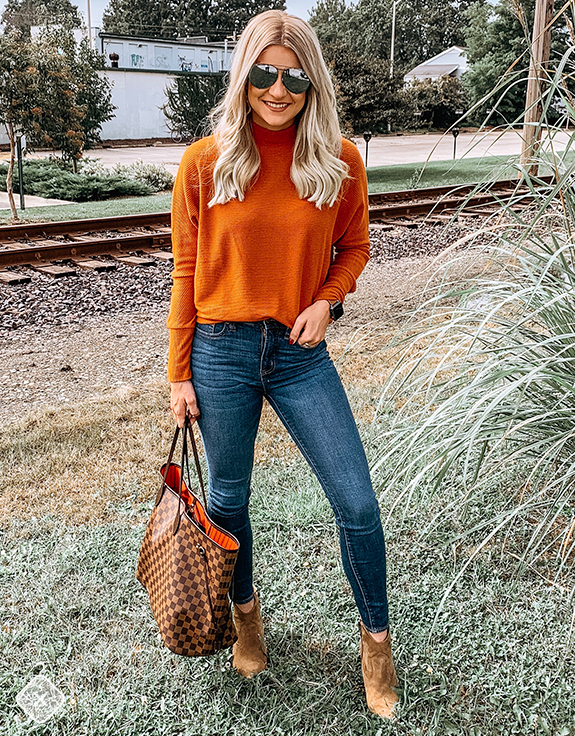 Orange turtleneck & Jeans! Ready for fall! Shop the look for under .