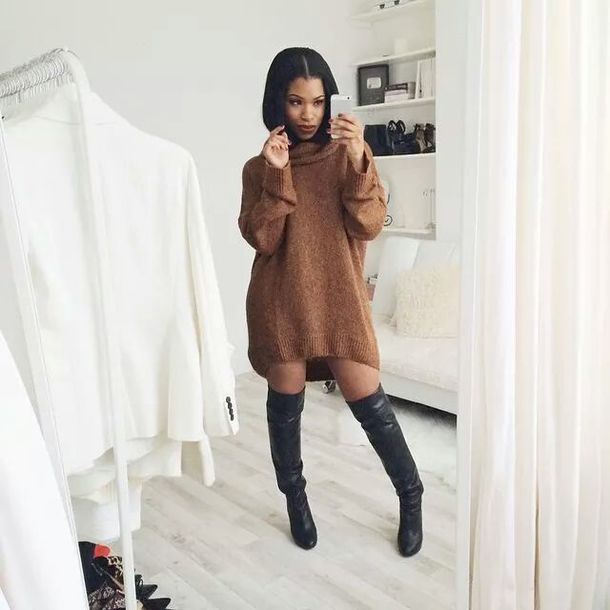 sweater, dress, boots, turtleneck dress, blouse, style, fashion .