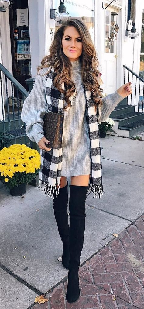 fall #outfits women's gray turtleneck sweater; black thigh-high .