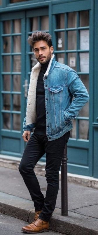 Fall combo inspiration black turtleneck sweater denim shearling .