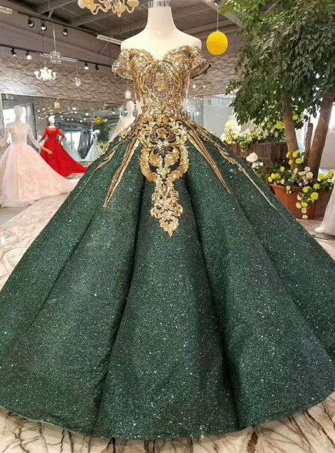 Champagne Ball Gown Tulle Sequins Long Sleeve Beading Wedding .