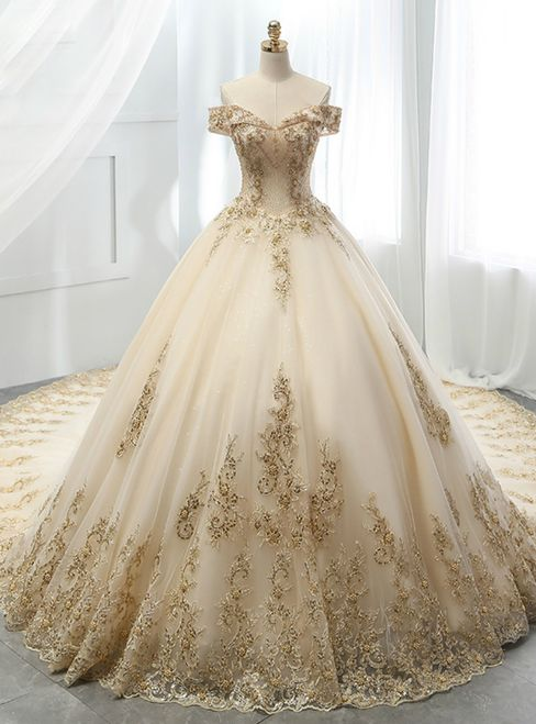 Champagne Ball Gown Tulle Gold Lace Appliques Wedding Dress | Ball .