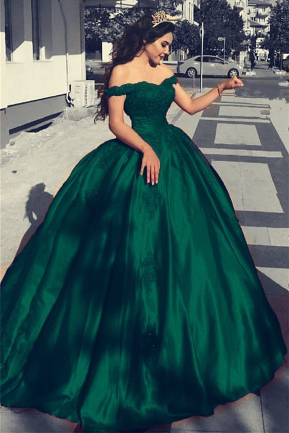 Green Satin Off The Shoulder Ball Gowns Wedding Dresses Lace .