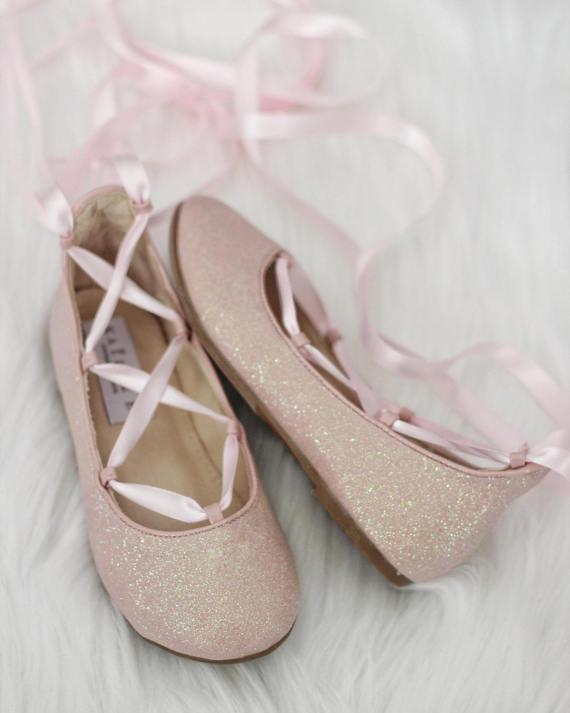 PINK fine glitter ballerina flats with satin ribbon lace up .