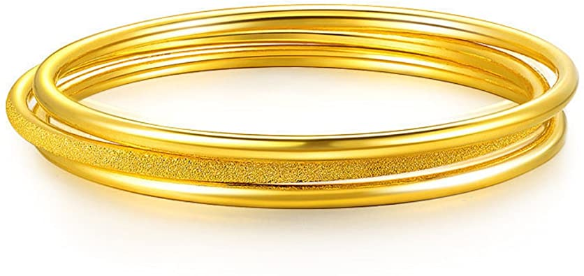 Amazon.com: GOWE 24k Pure Gold Bangle for Women Female Trendy .