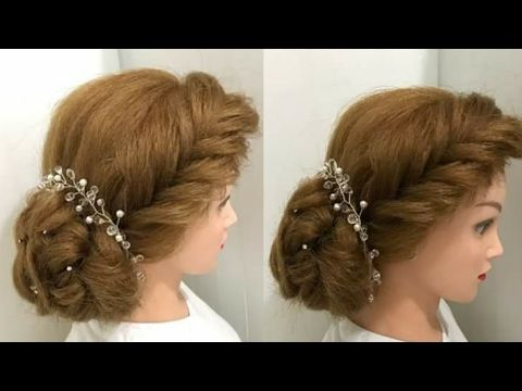Bridal Prom Hairstyle For Long Hair Tutorial. Romantic Bun Updo .