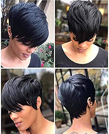 Amazon.com : RUISENNA Short Hair Wigs Boy Cut Human Hair Short .