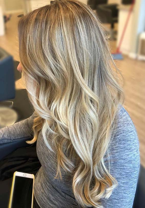 Best Blonde Hair Color Highlights for Long Wavy Hair in 2019 .