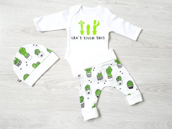 Cactus themed baby boy outfit with hat pants and shortsleeved .