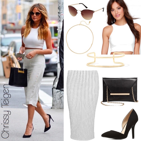 Summer Chic: Chrissy Teigen's Printed Skirt and Crop Top Look for .