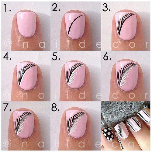 Best DIY Nail Art Tutorials 2016 For Beginners | Feather nails .