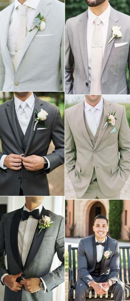 Best wedding suits men grey groomsman attire 50 Ideas #wedding .
