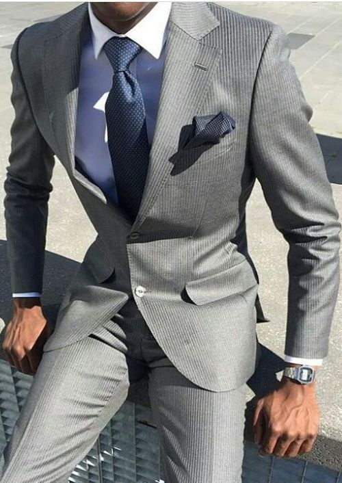 Men's grey suit with blue shirt and matching blue tie. #business .