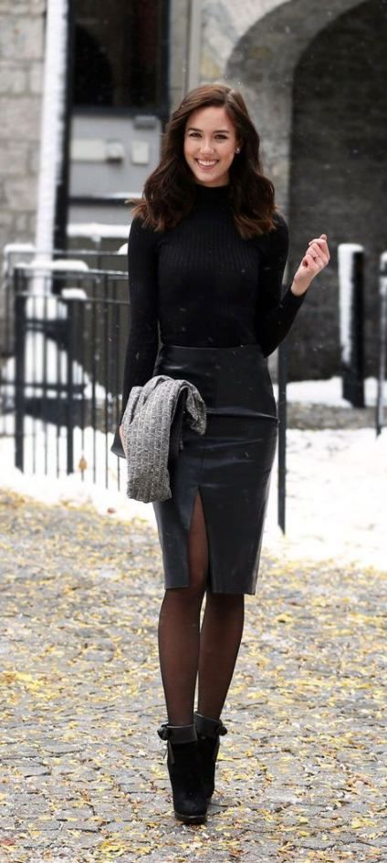 Best skirt with tights outfit classy black ideas | Fashion, Black .