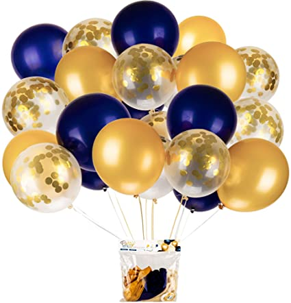 Amazon.com: Navy Blue and Gold & Gold Confetti Balloons - Pack of .