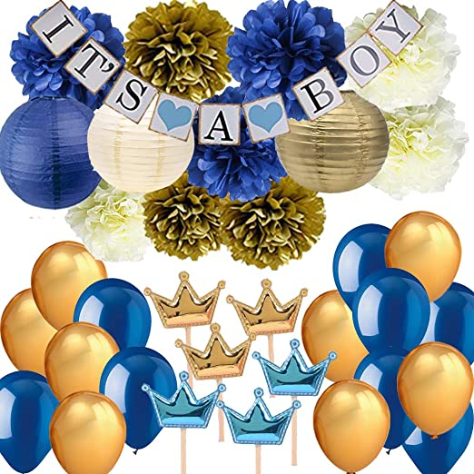 Amazon.com: Navy Blue Baby Shower Party Decorations-It's A BOY .