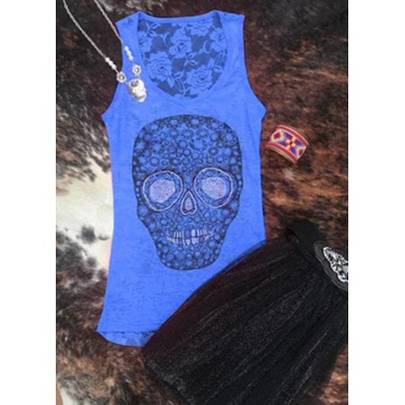 Women Sleeveless Sugar Skull Print Tank Top Punk Style Cool Vest .