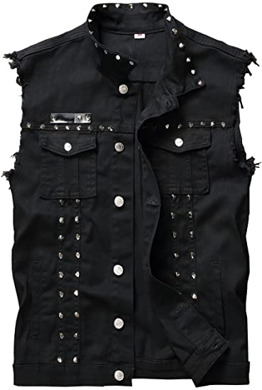 DSDZ Men's Punk Denim Vest Sleeveless Jean Jackets With Rivets at .