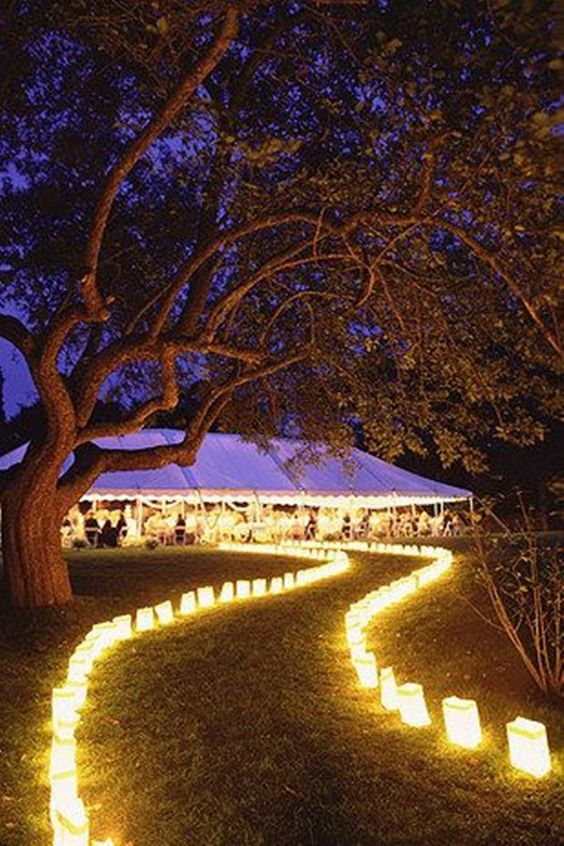 rustic wedding enter with lights / http://www.deerpearlflowers.com .
