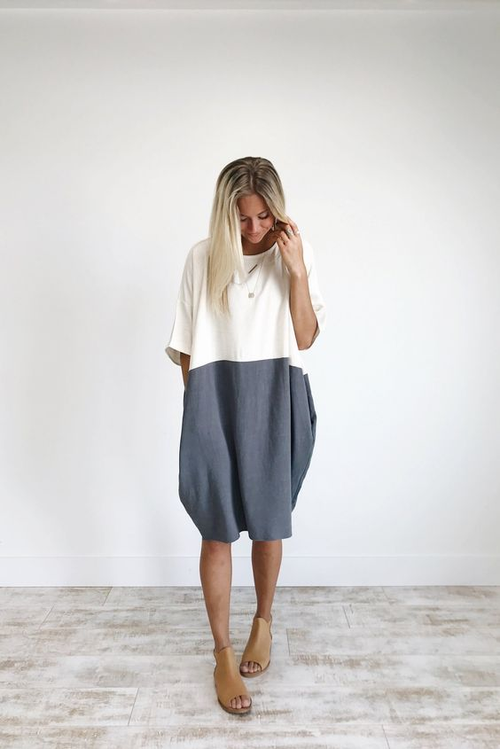 Charcoal Colorblock Linen Dress | ROOLEE | Fashion, Clothes, Sty