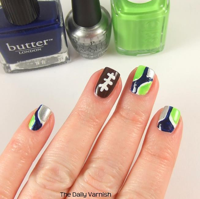 Seattle Seahawks Nail Art swatch – The Daily Varni
