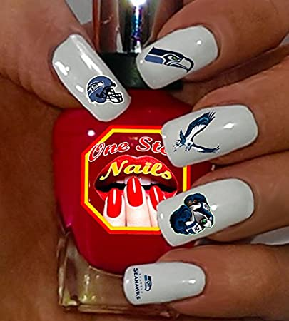 Amazon.com: Seahawks water-slide nail decals (tattoos) V1. Set of .