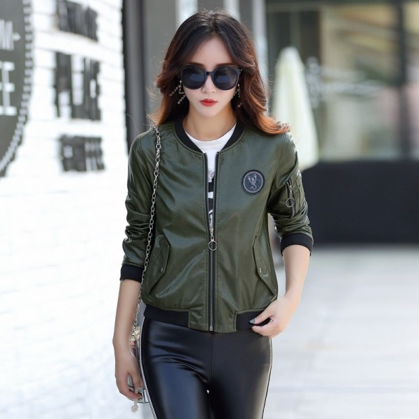 Buy Top Leather Jacket Women Coat Female Fashion Casual Solid .