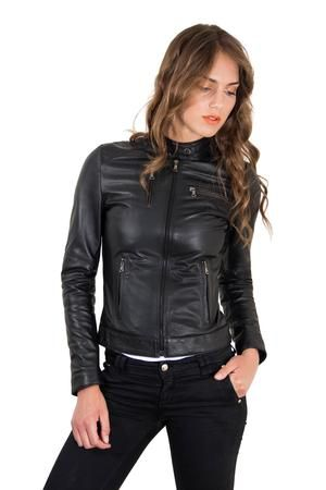 Women's Leather Jacket Biker Lamb Leather Giulia - Modern Choices .