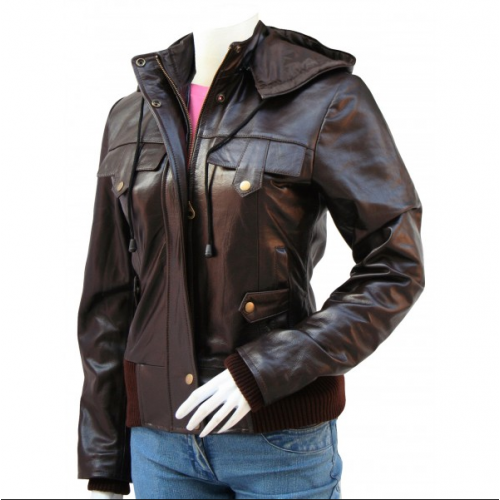Brown Leather Bomber Jacket Women | Women's Leather Bomber Jack