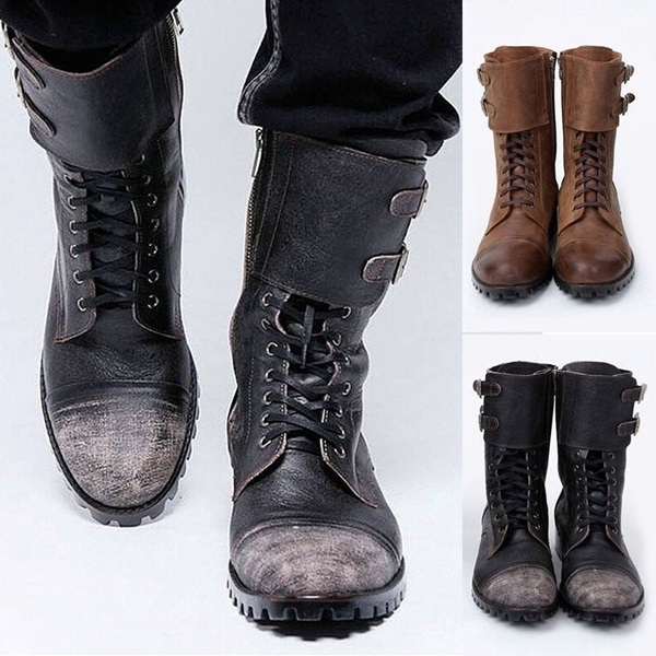 Military Vintage Biker Boots for Men Fashion Double Buckle Leather .