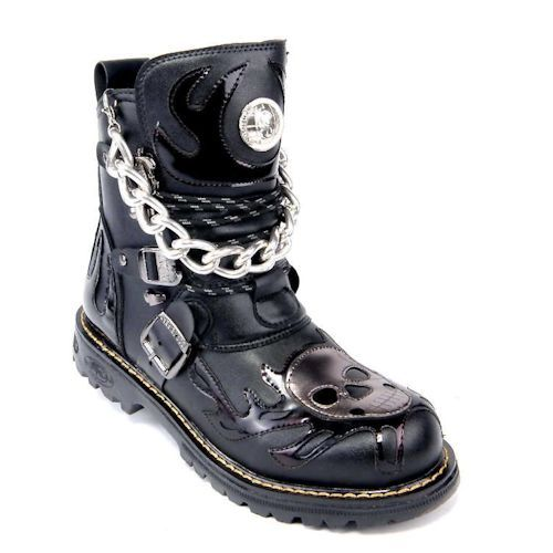 Men Black Patent Leather Skull Punk Motorcycle Biker Boots w .
