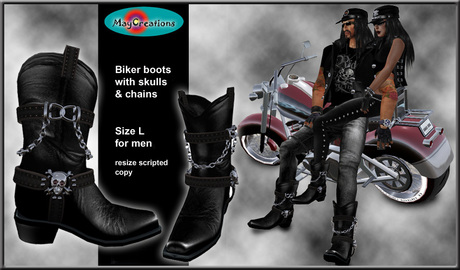 Second Life Marketplace - MayCreations biker boots skull L for m