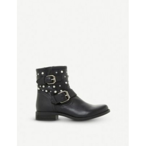 STEVE MADDEN Cameo leather pearl and stud biker boots .