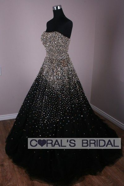 black and white ball gown | luxurious glitter, black and white .