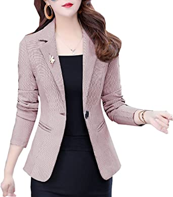 SHUIANGRAN Women's Striped Office Work Blazers Long-Sleeved .