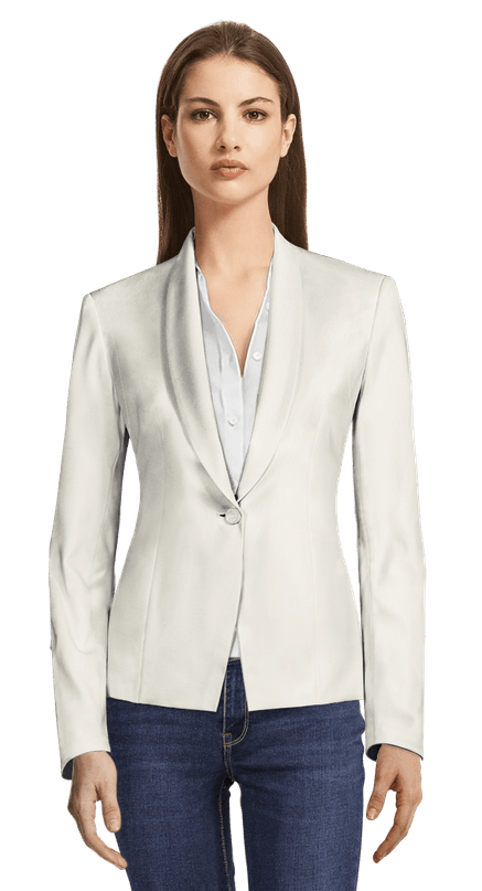White shiny one-button short Blazer with shawl lapels 129€ | Sumissu