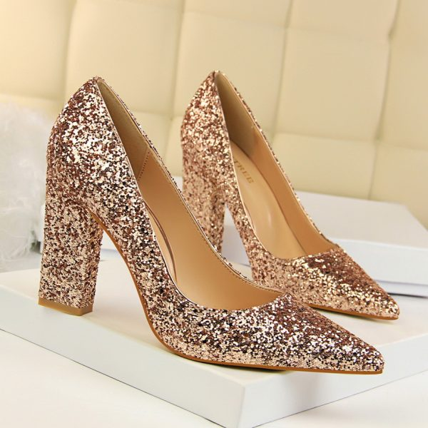 Red Gold Sequins Womens Fashion Block Heel Pumps Shoes - Heels