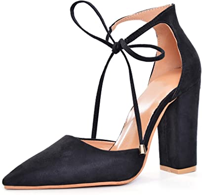 Amazon.com | Women Ankle Lace-Up Closed Pointed Toe Chunky Block .