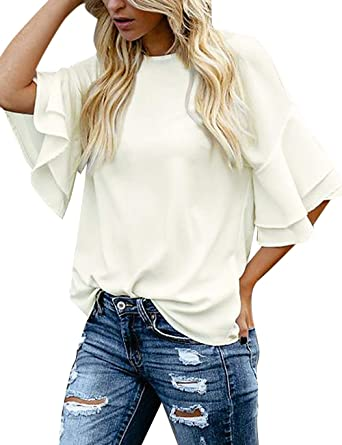 luvamia Women's Casual 3/4 Tiered Bell Sleeve Crewneck Loose Tops .
