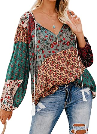 FARYSAYS Women's Casual Boho Floral Print V Neck Long Sleeve .