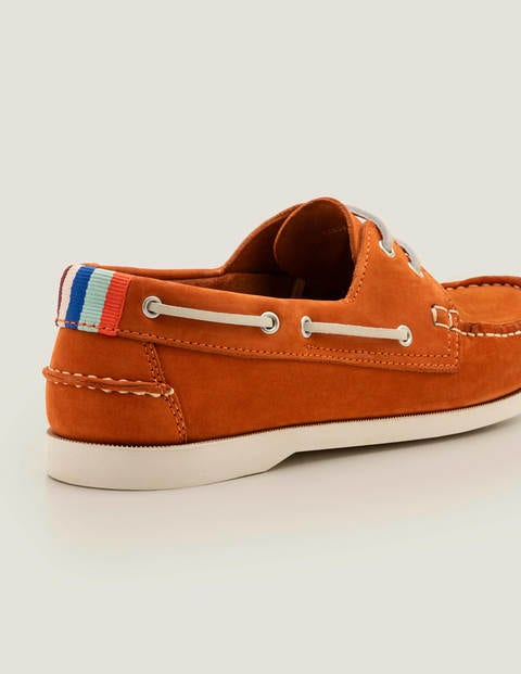 Boat Shoes - Orange Red Suede | Boden