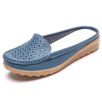 Hot Sale Women Flat Soft Leather Casual Half Dragged Ladies Boat .
