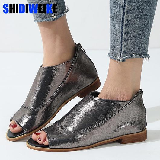 Flat shoes women loafers bling boat shoes plus size 35-43 peep toe .