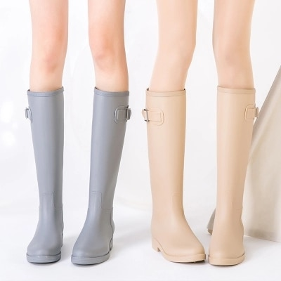 PVC Women Rain Boots Girls Ladies Tall Boots Women's Pure Color .