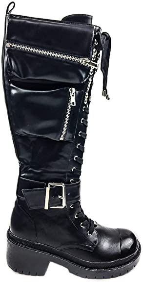 Amazon.com | Cape Robbin Underworld Faux Leather Goth Combat Boots .