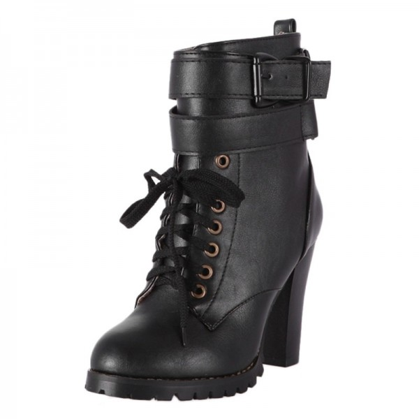 Boots with block heel for women