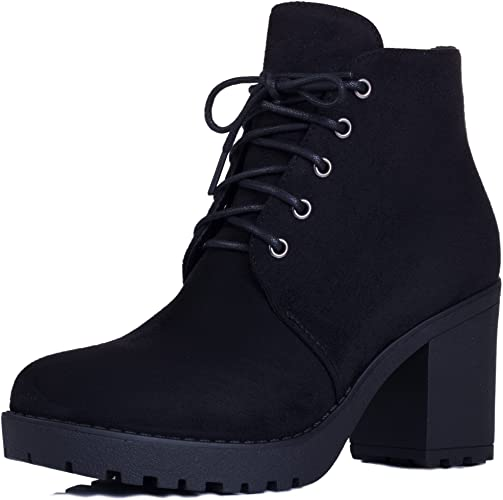SPYLOVEBUY GIRA Women's Lace Up Chunky Block Heel Platform Ankle .